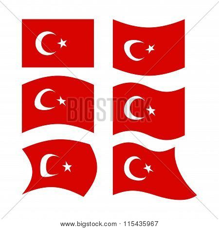Flag Of Turkey. Set  National Flag Of Turkish State. Developing Red Flag With Month And Star.