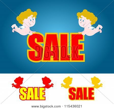 Valentines Day Sale. Cupids Bear Sale. Little Angel. Set Of Logos For Storefront. Sales In Festive D