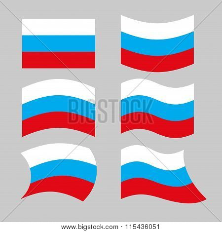 Flag Russia. Set Of Flags Of Russian Federation In Various Forms. Developing Russian Flag Government
