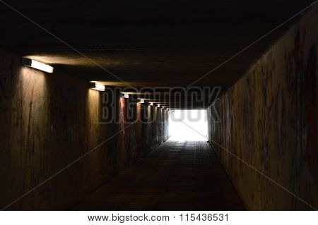 Pedestrian Tunnel With Lights And Graffiti