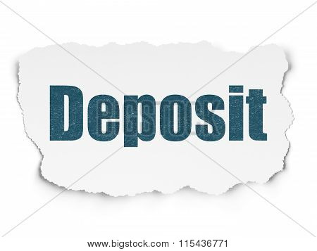 Banking concept: Deposit on Torn Paper background