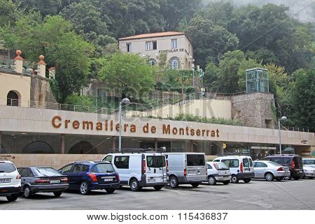 Montserrat, Spain - August 28, 2012: Stations Of The Funicular De Sant Joan And Cremallera Train At