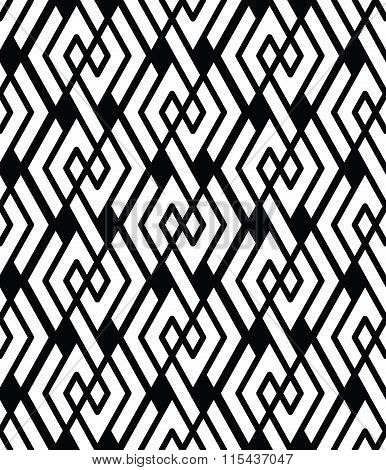 Monochrome Visual Abstract Textured Geometric Seamless Pattern. Symmetric Black And White Vector