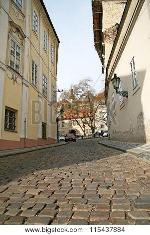 Prague, Czech Republic - April 16, 2010: Buildings On Snemovni Street In Mala Strana (lesser Town)