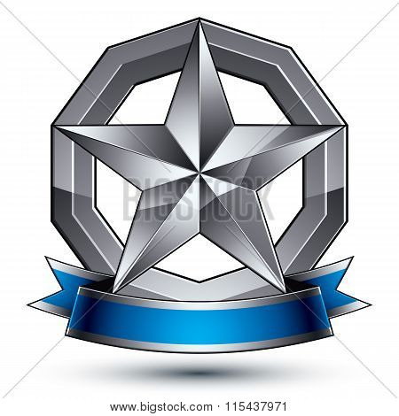 Vector Glorious Glossy Design Element, Luxury 3D Pentagonal Silver Star, Conceptual Complicated Grap