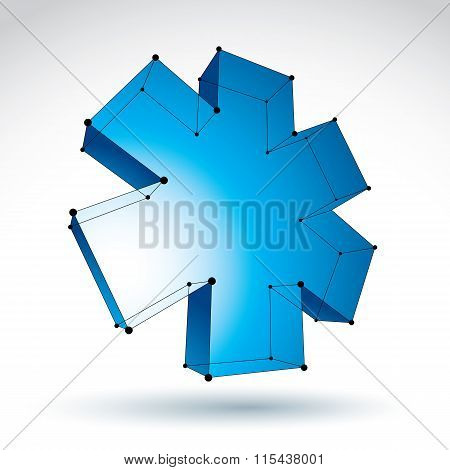 3D Mesh Web Blue Ambulance Icon Isolated On White Background, Colorful Lattice Medicine Symbol