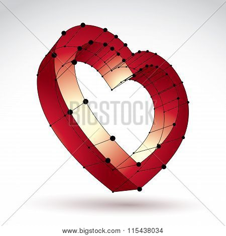3D Mesh Stylish Web Red Love Heart Sign Isolated On White Background, Elegant Loving heart