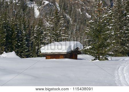 Mountain Hut Under The Snow