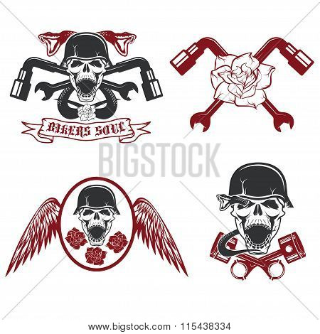 Biker Theme Labels With Pistons,flowers,wings,snakes And Skulls