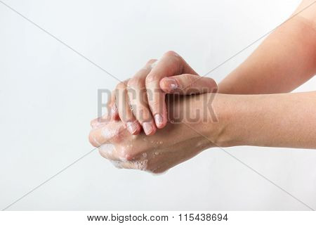 gesture of woman washing her hands on white background