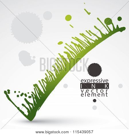 Vector Colored Brush Painted Ink Blob, Eps8 Smudge Background. Web And Graphic Design Element