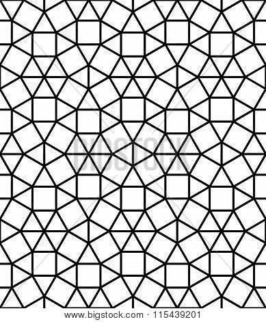 Vector modern seamless sacred geometry pattern mosaic black and white abstract