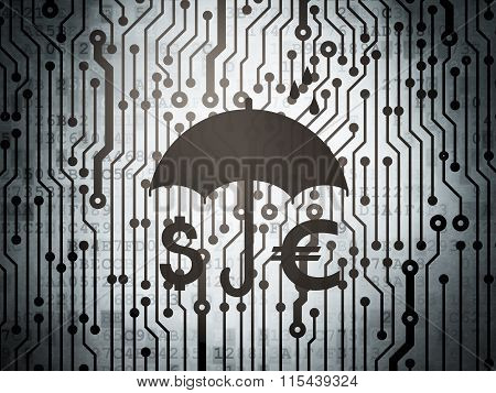 Safety concept: circuit board with Money And Umbrella