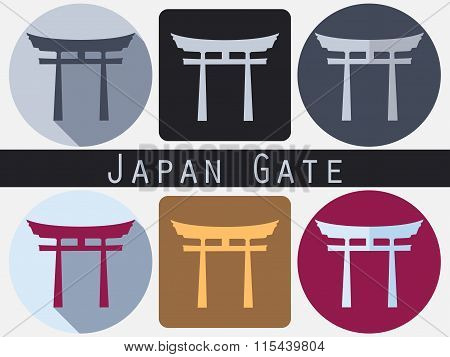 Japan Gate. Torii Gate. Flat. Shinto. Historical Monument.