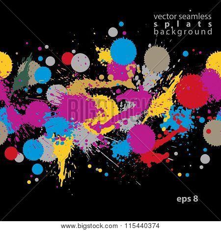 Bright Contrast Splattered Web Design Repeat Pattern, Art Ink Blob, Paintbrush Drawing. Smudge