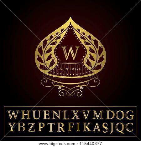 Monogram Design Elements, Graceful Template. Calligraphic Elegant Line Art Logo Design. Letters Gold