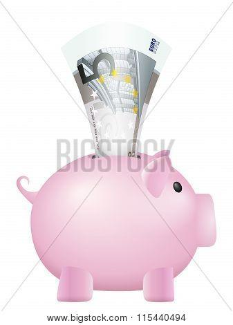 Piggy Bank Five Euro Banknote