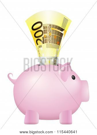Piggy Bank Two Hundred Euro Banknote