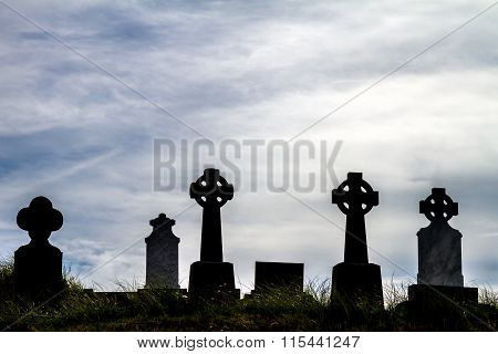 Irish cemetery with Celtic cross