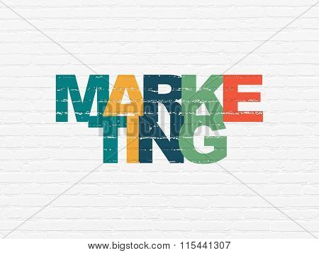 Advertising concept: Marketing on wall background