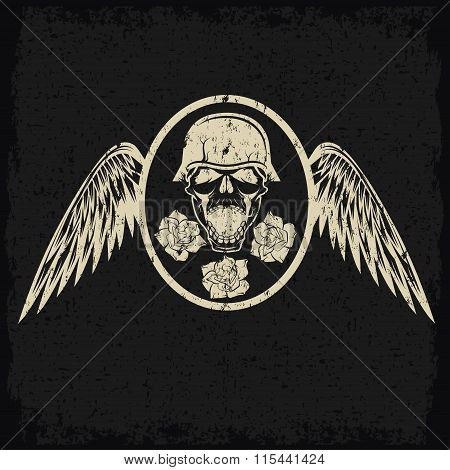 Grunge Biker Theme Label With Flowers,wings And Skull