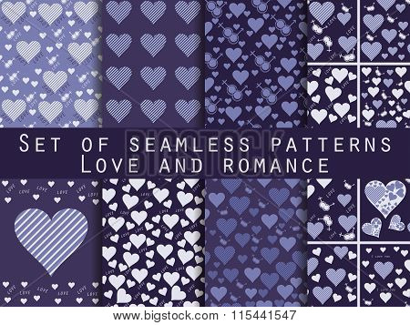 Set Of Seamless Patterns With Hearts. Valentine's Day. Love Patterns. Shades Of Blue, Purple, Violet
