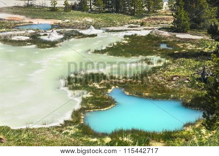 Deatiled photo of vivid thermal pools from above. West Thumb 