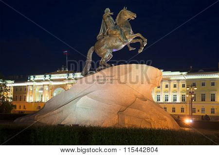 Bronze Horseman against the building of the Constitutional Court of the summer night. St. Petersburg