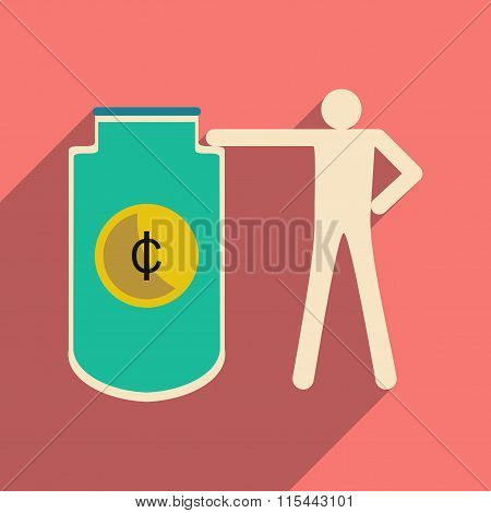 Flat with shadow icon man and purse for coins