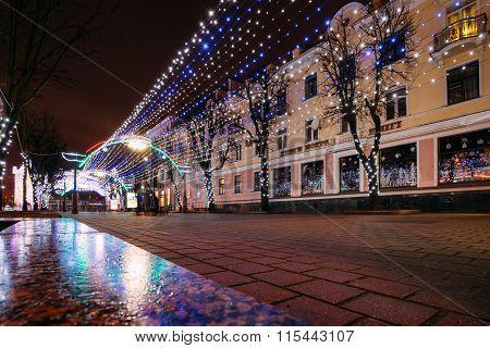 City Christmas illuminations in central Brest, Belarus