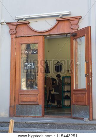 Kiev, Ukraine - October 03, 2015: Open Door Of The Shop On St. Andrew's Descent