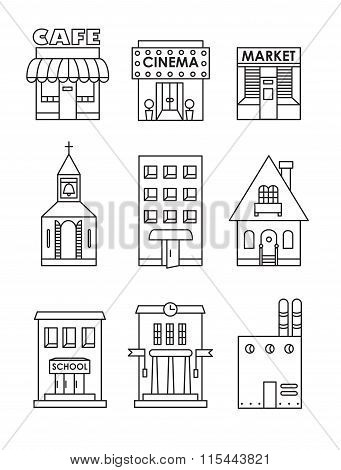 Set Of Vector Flat Black And White Icons Of Buildings.cafe, Cinema, Store, Church, Apartment House,c