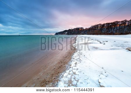 Winter at Baltic Sea in Babie Doly, Poland