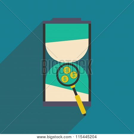 Modern flat icon with shadow hourglass and coins