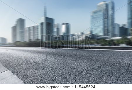 highway with modern building background, usa.