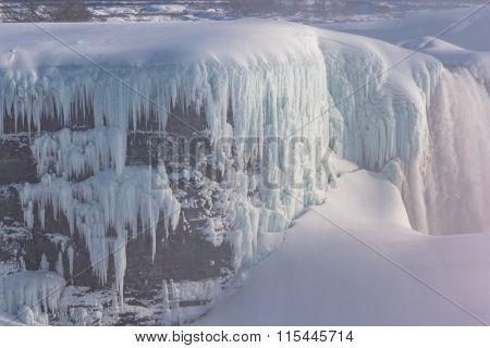 frozen waterfall in winter, Canada.