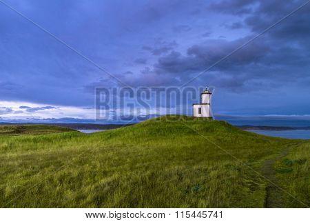 lighthouse in sunset, San Juan Island, WA, USA.