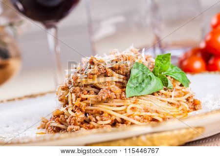 Spaghetti bolognese with beef