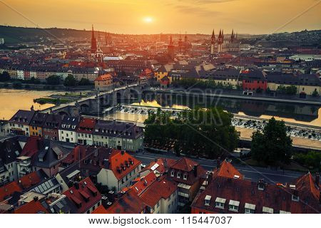Sunrise over the city of Wurzburg, Germany