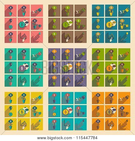Modern flat icons vector collection with shadow economy money income