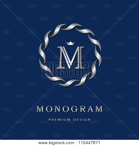 Monogram Design Elements, Graceful Template. Elegant Line Art Logo Design. Letter Emblem M. Retro Vi