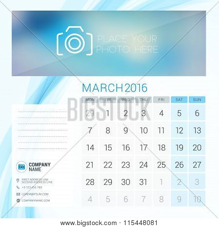 Desk Calendar For 2016 Year. March. Vector Stationery Design Template With Place For Photo, Company