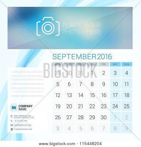 Desk Calendar For 2016 Year. September. Vector Stationery Design Template With Place For Photo, Comp