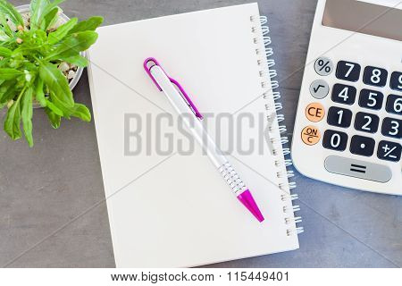 Calculator, Notepad,  Pen And Green Plant On Grey Background