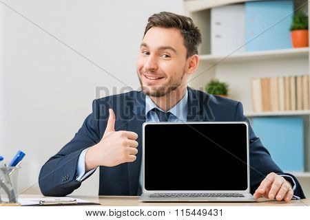 Diligent office worker pointing out his laptop