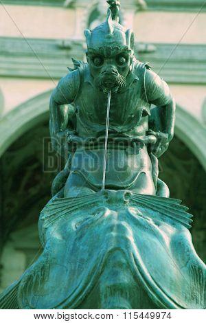 Fountain On Piazza Della Santissima Annunziata In Florence, Italy