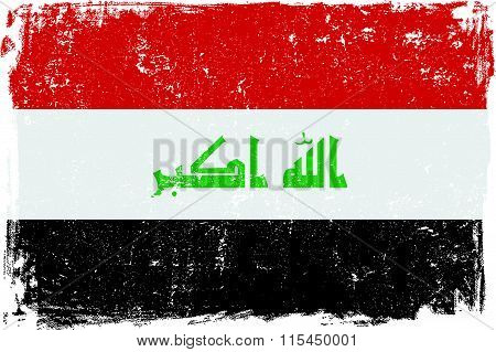 Iraq vector grunge flag isolated on white background.