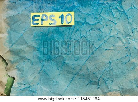 vector watercolor crumpled old blue paper