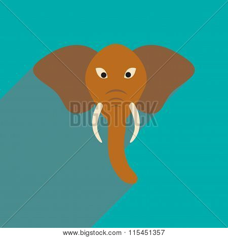 Modern flat icon with long shadow Indian elephant