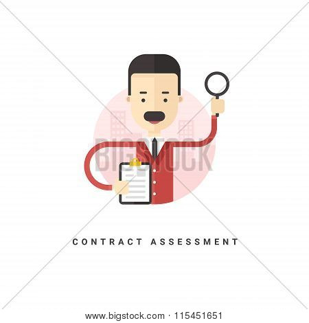 Flat Style Vector Conceptual Illustration. Cartoon Character Businessman Holding Documents. Contract
